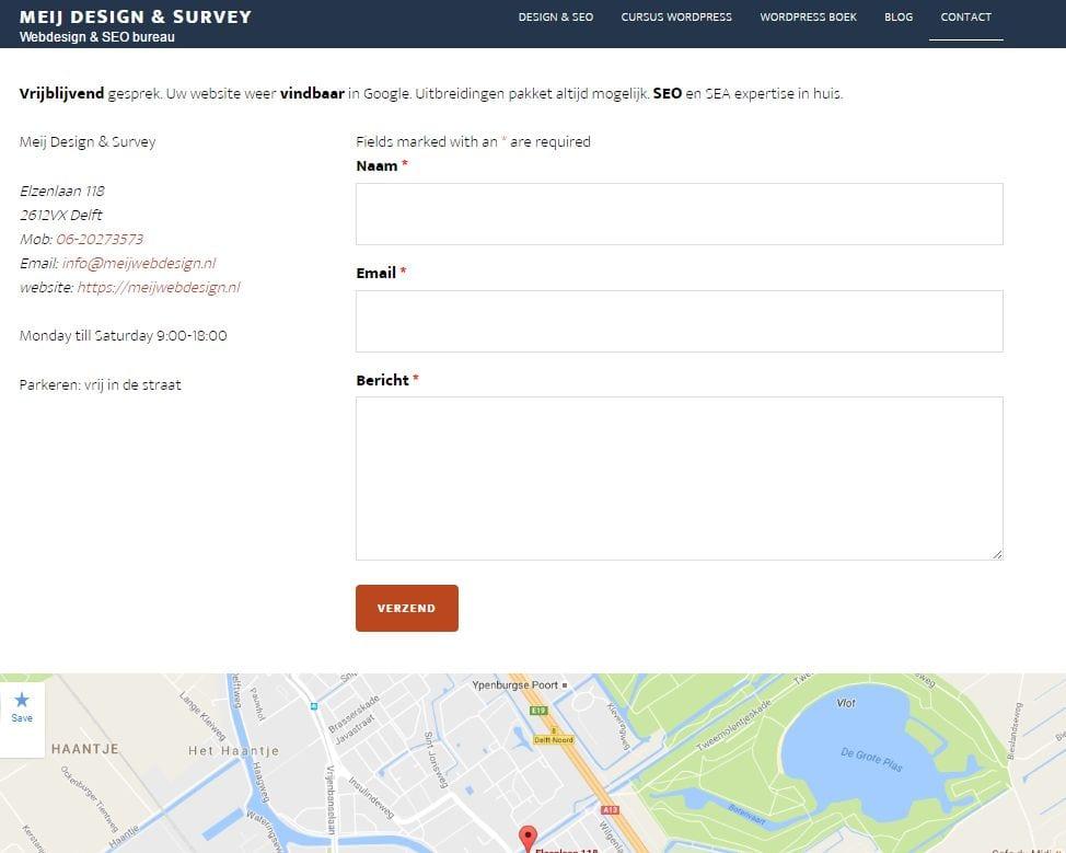website laten maken Delft contactpagina