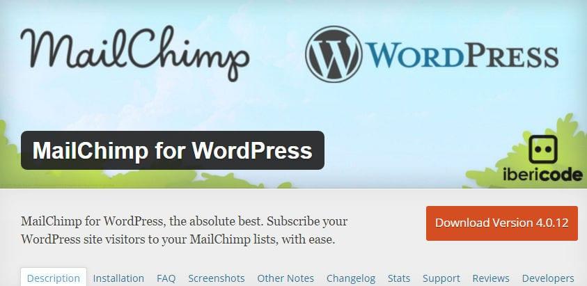 wordpress plugin mailchim for wordpress