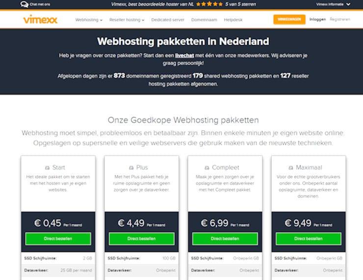 webhosting paketten van Vimexx