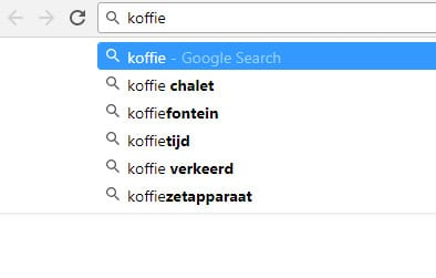 zoek suggesties van Google