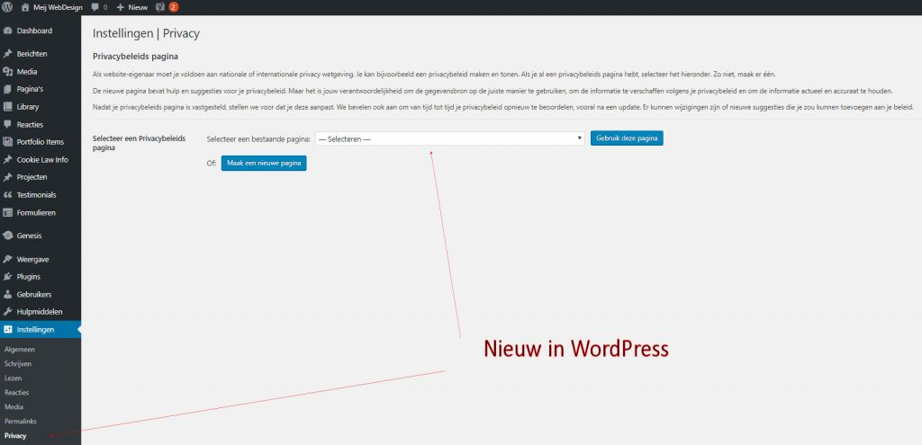AVG privacy link in WordPress aanpassen