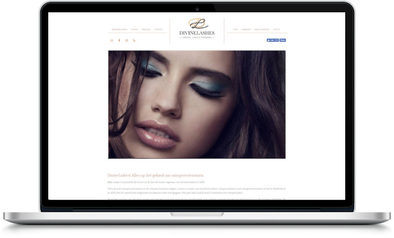 website divinelashes gemaakt door meij webdesign
